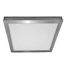 Plafón Led cuadrado plata de superficie de 30W luz neutra