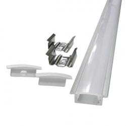 Perfil rectangular aluminio tira led 1 m con pestañas