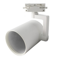 Cylindrical Rail Spotlight - White, E27 Lamps
