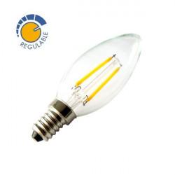 Bombilla vela filamentos LED 360º 2W REGULABLE