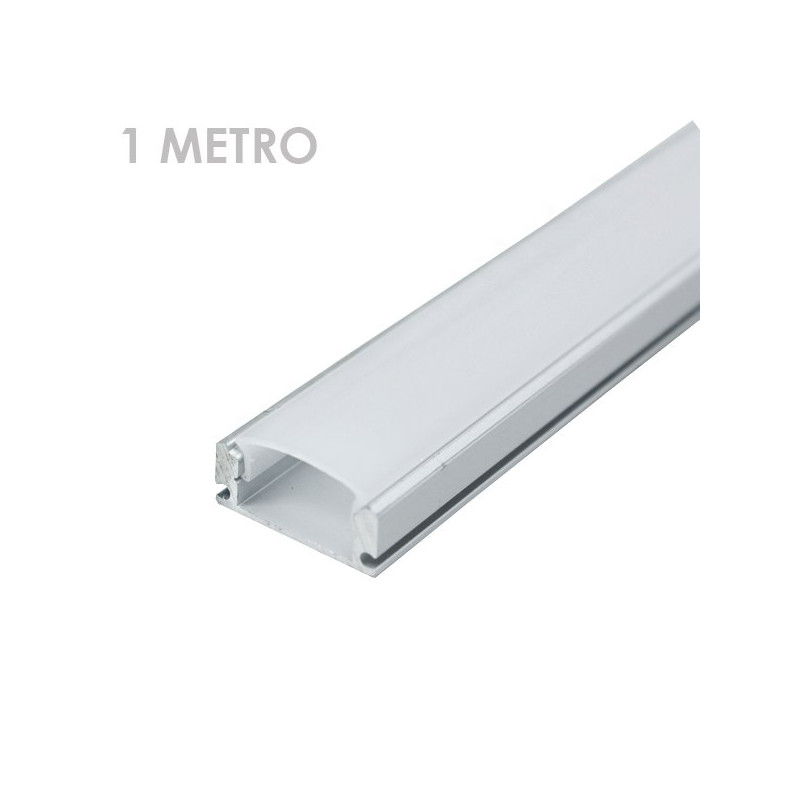 Perfil rectangular aluminio tira led 1 m