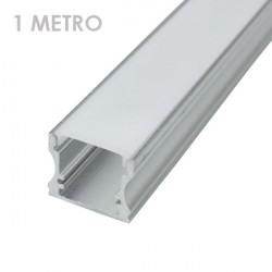 Profile for 1 m LED Strips - Rectangular, Aluminium, 17,5 x 14,5 x 1000mm clips
