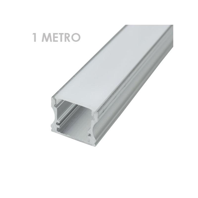 Perfil tira led alumínio retangular 1m 19 x 19 x 1,000 milímetros
