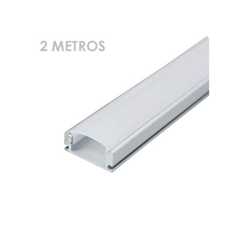 Perfil rectangular aluminio tira led 2 m