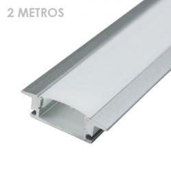Perfil rectangular aluminio tira led 2 m con pestañas