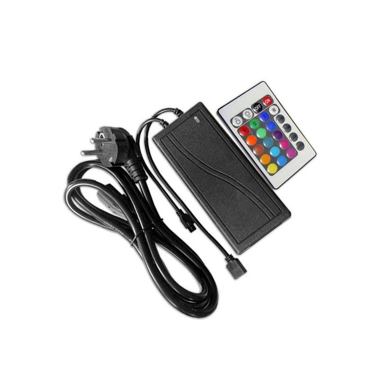 Controlador + transformador con mando, tira led RGB 12V