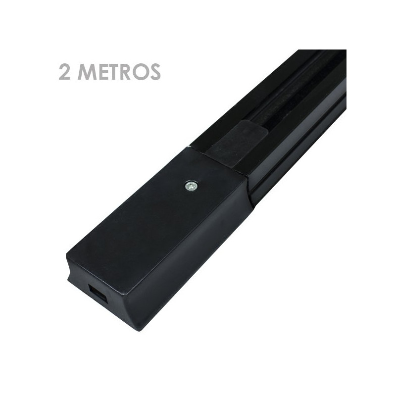 Carril focos led negro 2 metros ensamblable