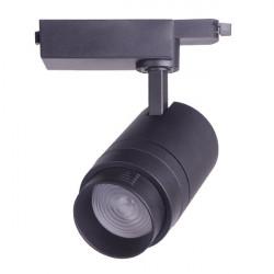 Foco LED preto ángulo ajustável 30W para rail
