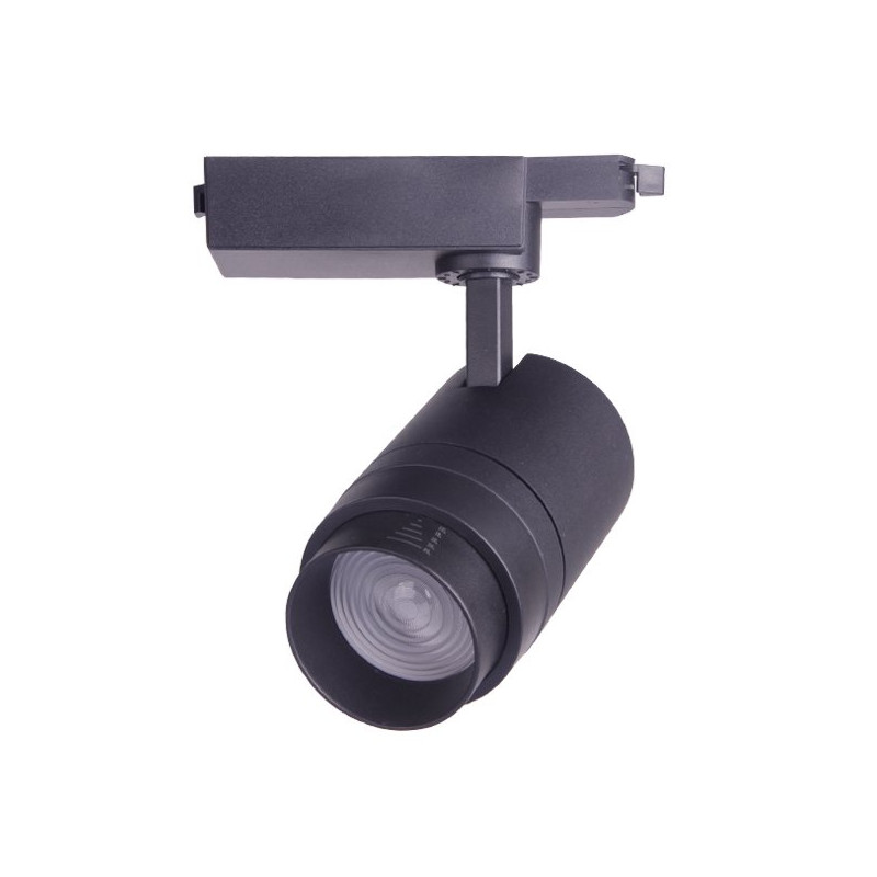 Foco carril led 30W negro ángulo ajustable