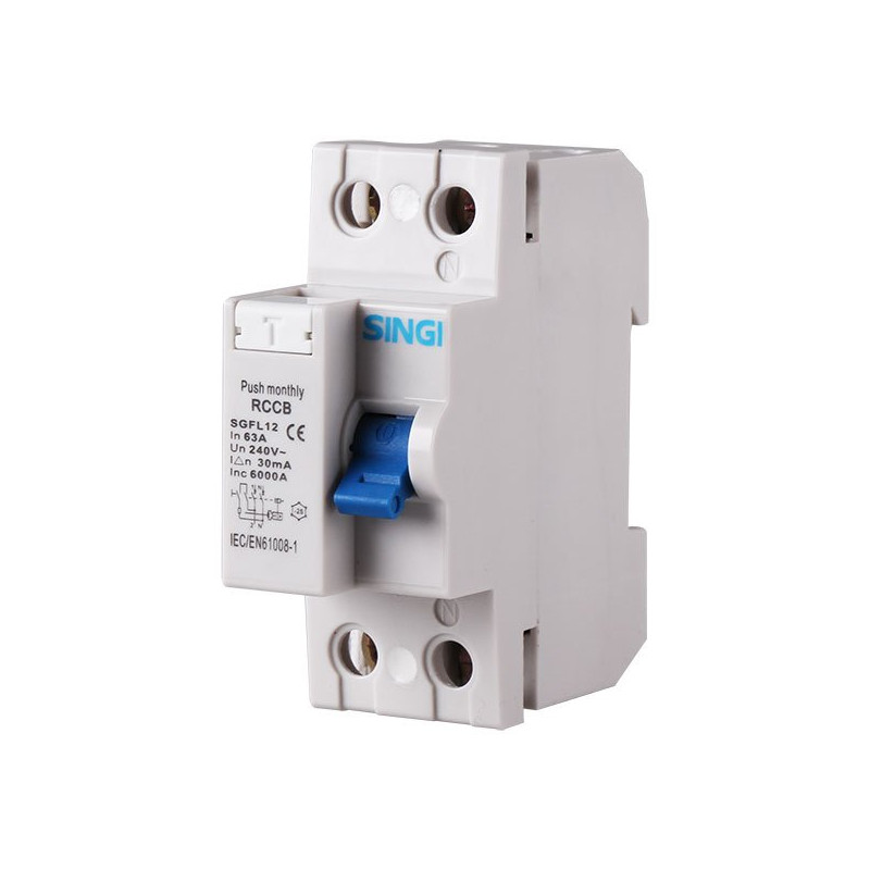 Residual current circuit breaker 2P 6kA