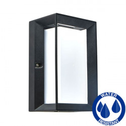 LED E27 square black wall lamp IP54