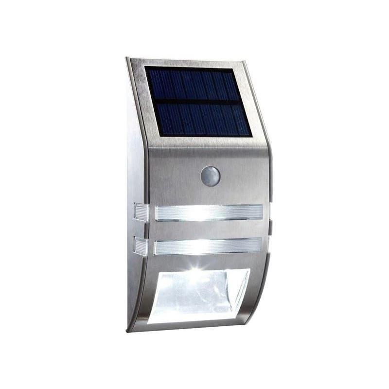 Aplique solar LED detector presencia color plata