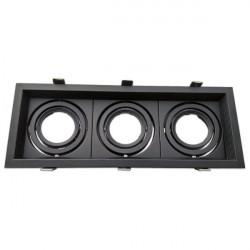 Adjustable black frame for MR16. Triple