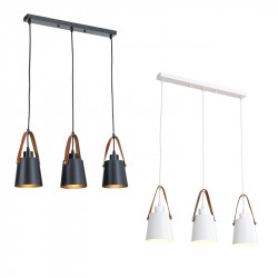 3xE27 leather pendant lamp